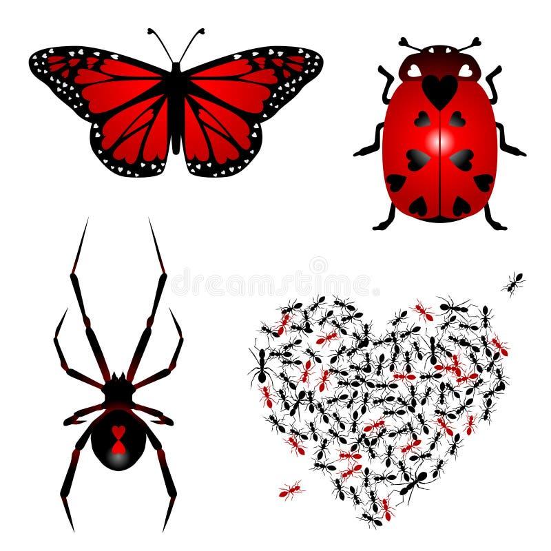 Reeks lovebugs vector illustratie