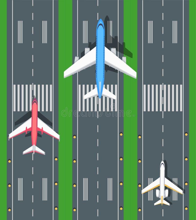 Reeks Luchtvaart Vectorvliegtuigen op Banen royalty-vrije illustratie