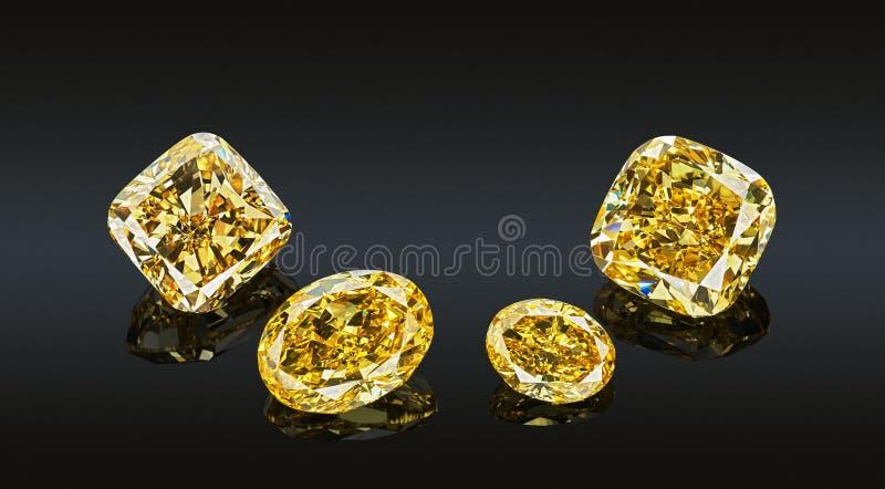 Reeks luxe gele transparante fonkelende halfedelstenen van diverse die de diamantencollage van de besnoeiingsvorm op zwarte achte stock foto