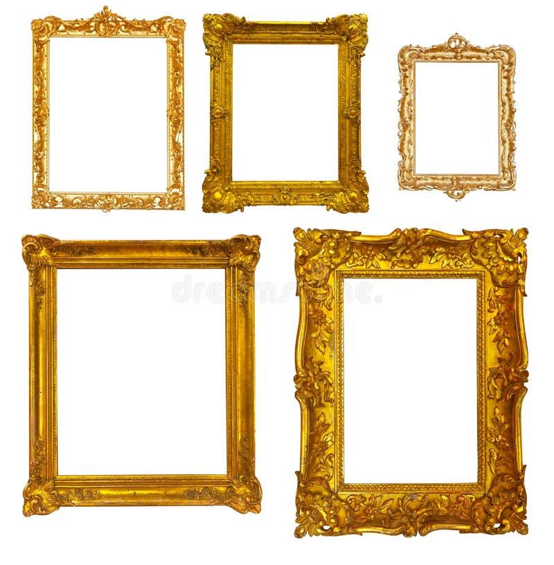 Reeks Luxe vergulde frames Geïsoleerd over wit royalty-vrije stock afbeeldingen