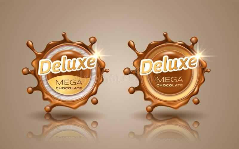 Reeks luxeontwerpetiketten in gouden kleur die op achtergrond wordt geïsoleerd Wervelings dynamische plons van melkchocola Chocol royalty-vrije illustratie