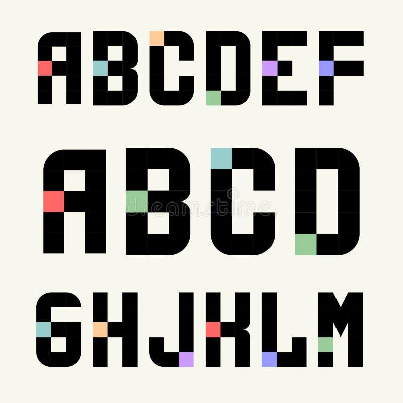 Reeks 1 Malplaatjes hoofdletters van blokken met kleurentussenvoegsels stock illustratie