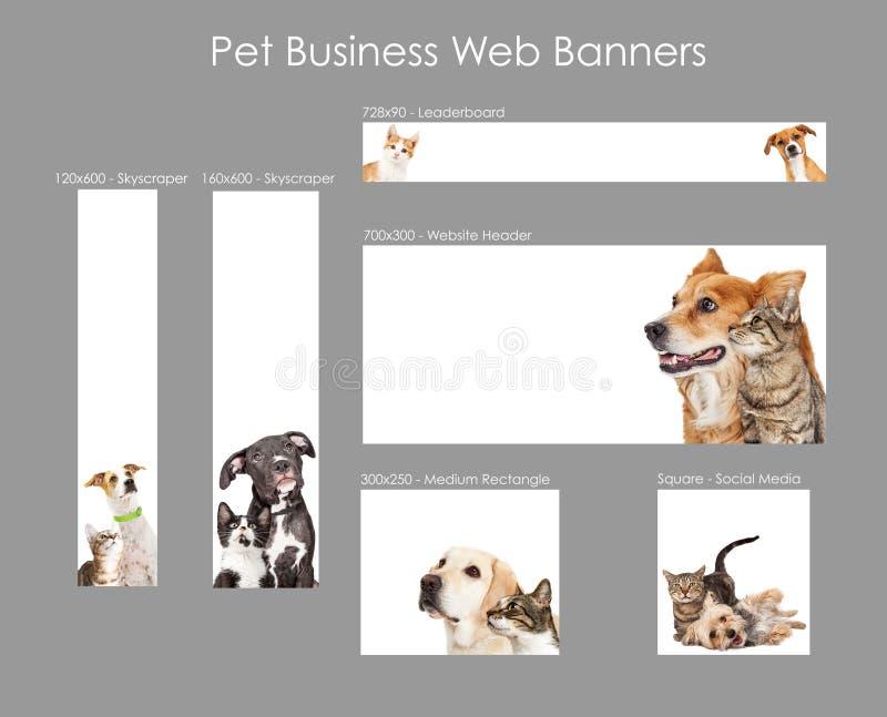 Reeks Malplaatjes Huisdieren van de Bedrijfswebbanner stock illustratie