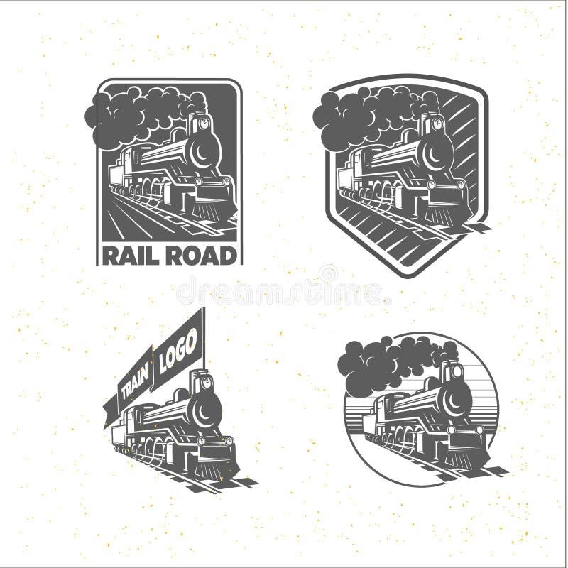 Reeks malplaatjes met een locomotief Uitstekende trein, logotypes, illustraties royalty-vrije stock afbeelding