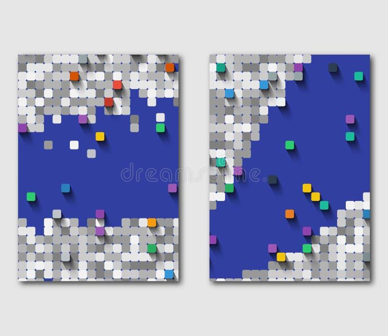 Reeks malplaatjes van bedrijfsvliegers met vierkant mozaïek Moderne grafiek op het technologieonderwerp stock illustratie