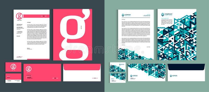 Reeks malplaatjes van het Bedrijfsidentiteitsontwerp Geplaatste kantoorbehoeften - Briefhoofda4 malplaatje, naamkaart, envelop, p stock illustratie