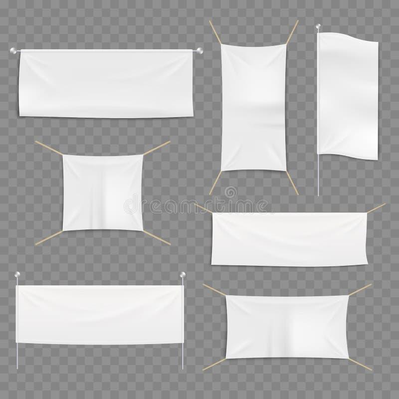 Reeks malplaatjes van witte lege van de reclametextiel en stof banners op transparante achtergrond stock illustratie