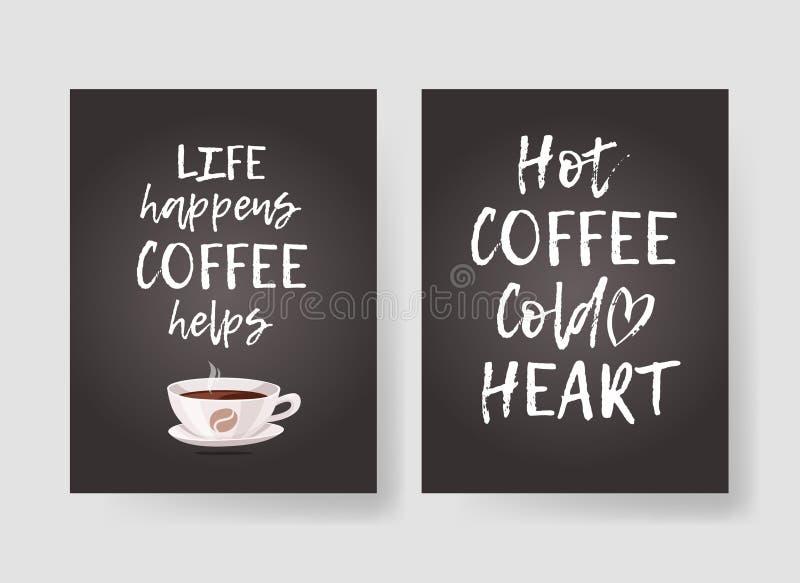 Reeks malplaatjes voor kaarten met positieve teksten over koffie Hand getrokken vectorpatronenbrochures en het van letters voorzi stock illustratie