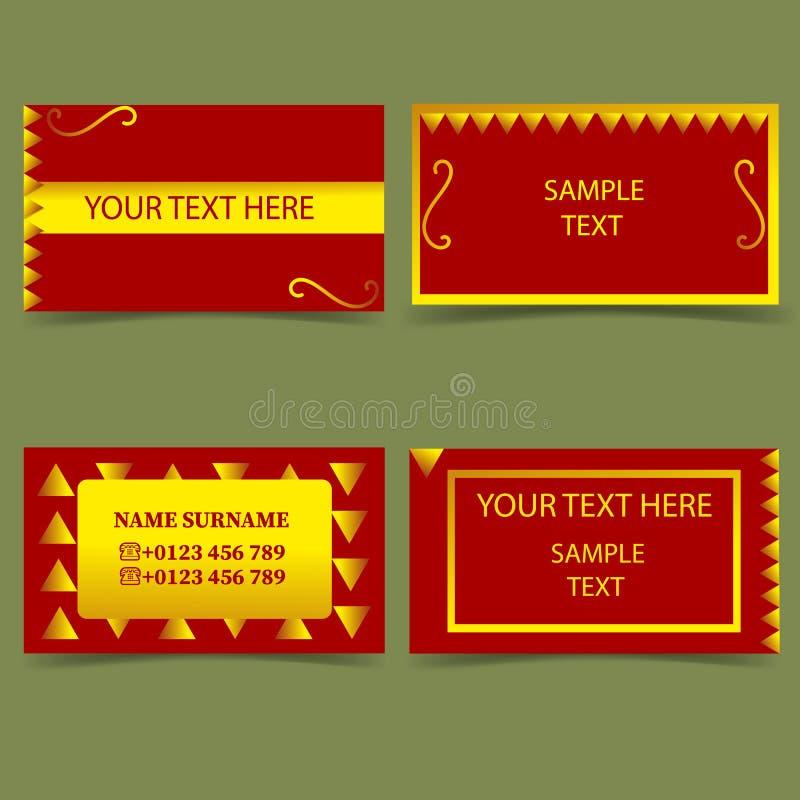 Reeks malplaatjes voor zaken, bedrijfs kaart-modern ontwerp, rood en goud vector illustratie
