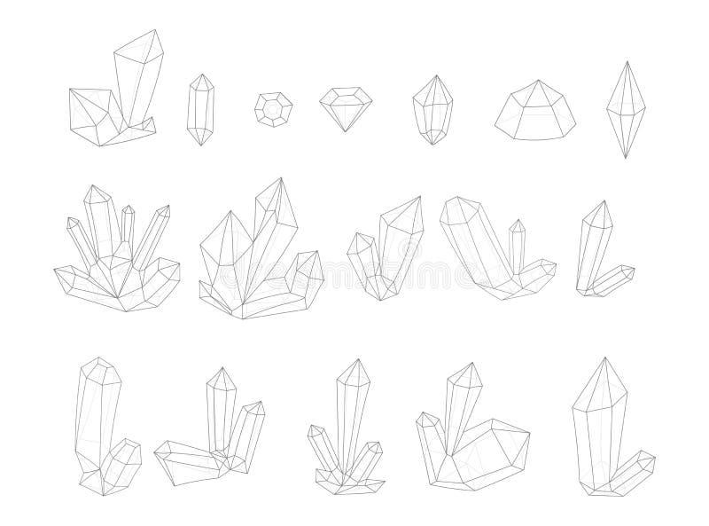 Reeks 17 manierkristal Zwart-wit diamanten in lijnen hipster stijl royalty-vrije illustratie