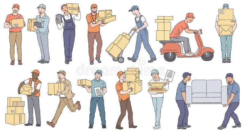 Reeks mannelijke arbeiders van verschillende levering en de bewegende stijl van de de dienstenschets vector illustratie
