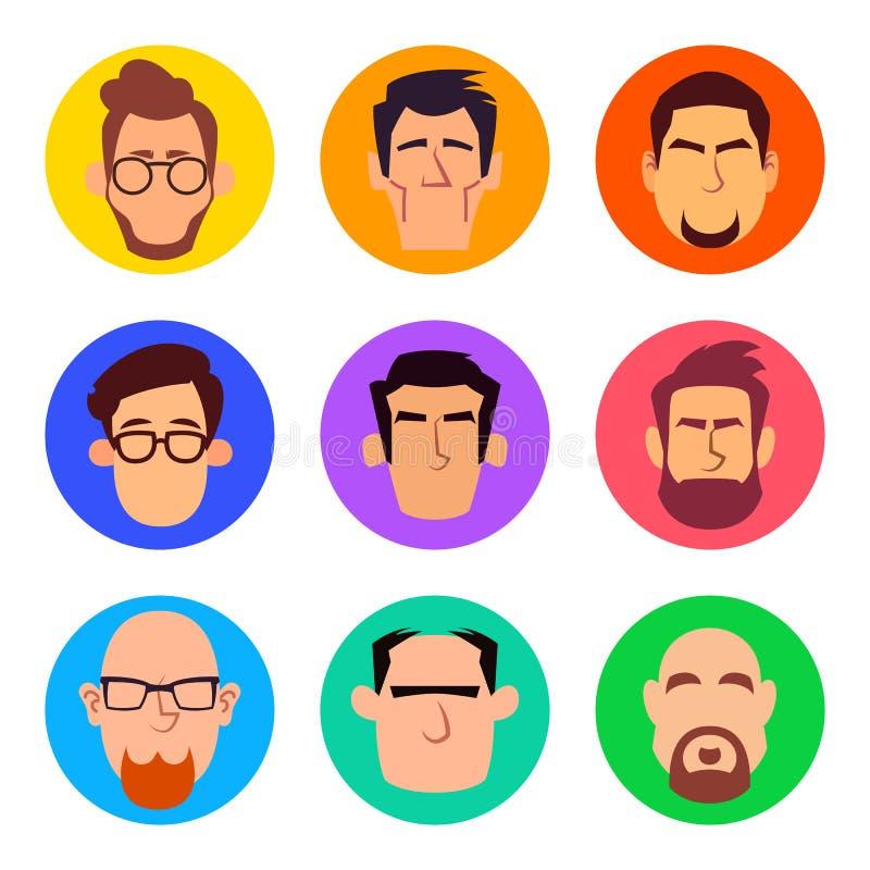 Reeks mannelijke avatars in beeldverhaal vlakke stijl royalty-vrije stock afbeeldingen