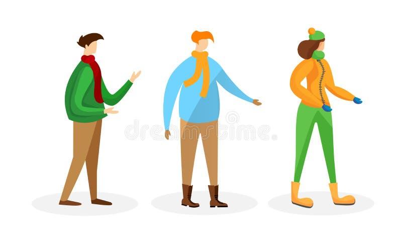 Reeks Mannelijke en Vrouwelijke Mensen in de Winterkleding vector illustratie
