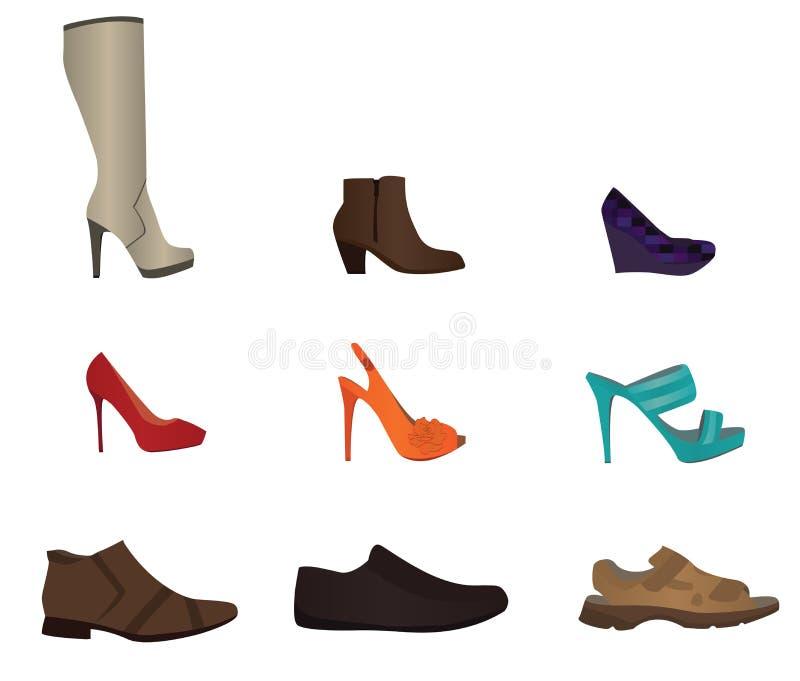 Reeks mannelijke en vrouwelijke schoenen royalty-vrije stock foto's