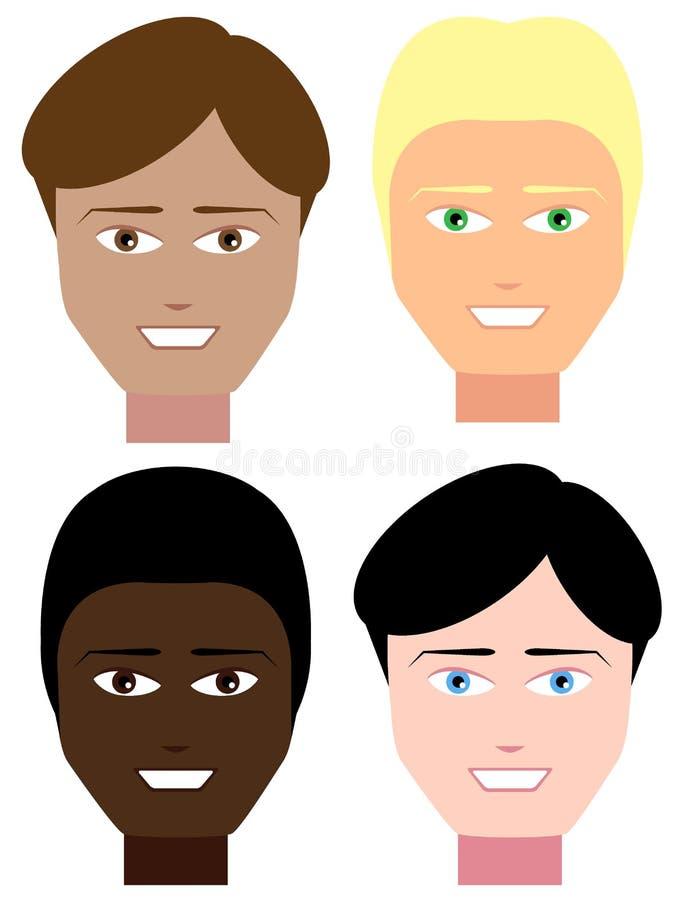 Reeks mannelijke gezichten stock illustratie