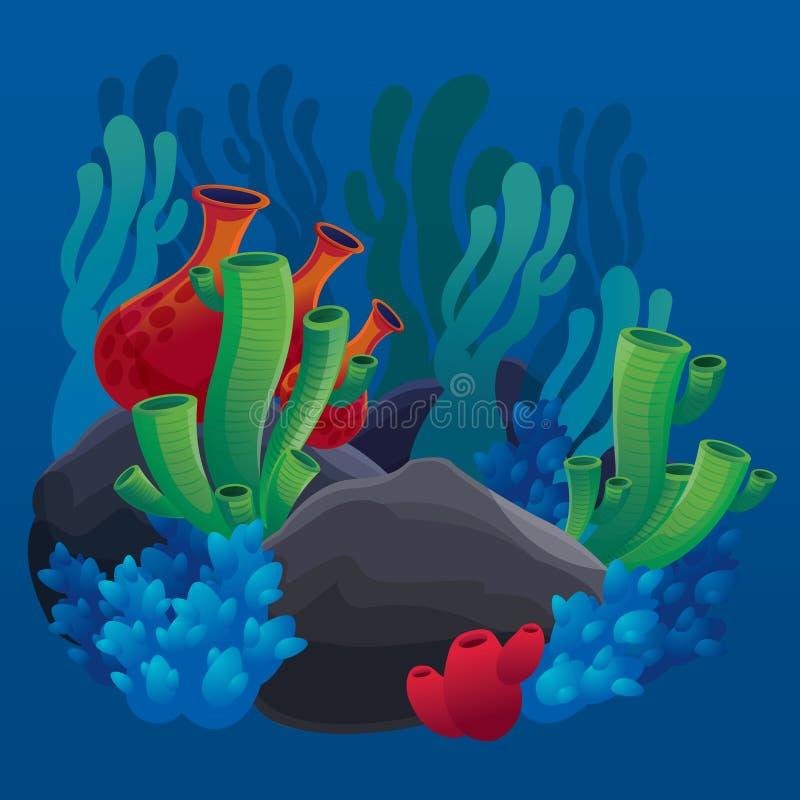 Reeks mariene installaties, koralen en rotsen stock illustratie