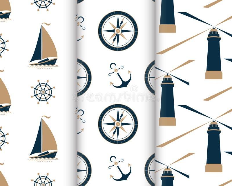Reeks mariene naadloze patronen met schip, anker, zeevaartkompas, vuurtoren, het wiel van de kapitein royalty-vrije illustratie
