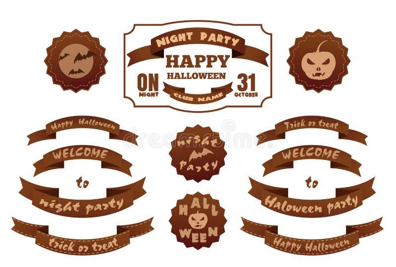 Reeks markeringen en etiketten met Halloween-inschrijving stock illustratie