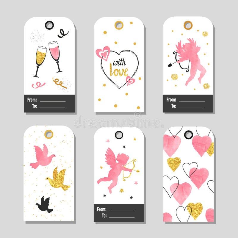 Reeks markeringen van de de Daggift van Valentine ` s met leuke cupido, duif, harten vector illustratie