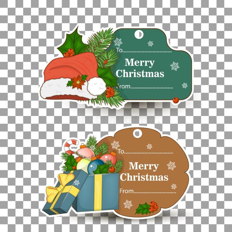 Reeks markeringen voor giften voor Kerstmis In een markeringsstokken, sneeuwman, lichten, boom, kaars, takje, royalty-vrije illustratie