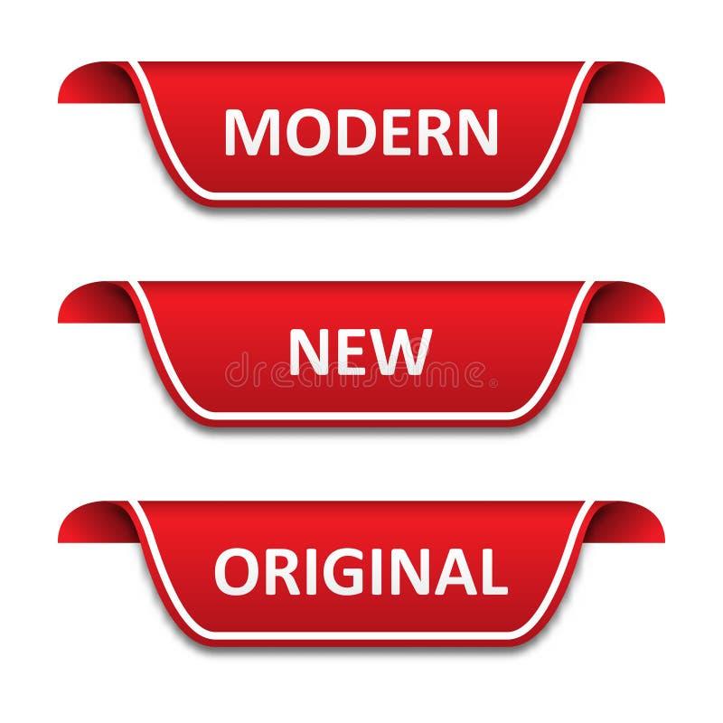Reeks markeringenlinten Modern, nieuw, origineel vector illustratie