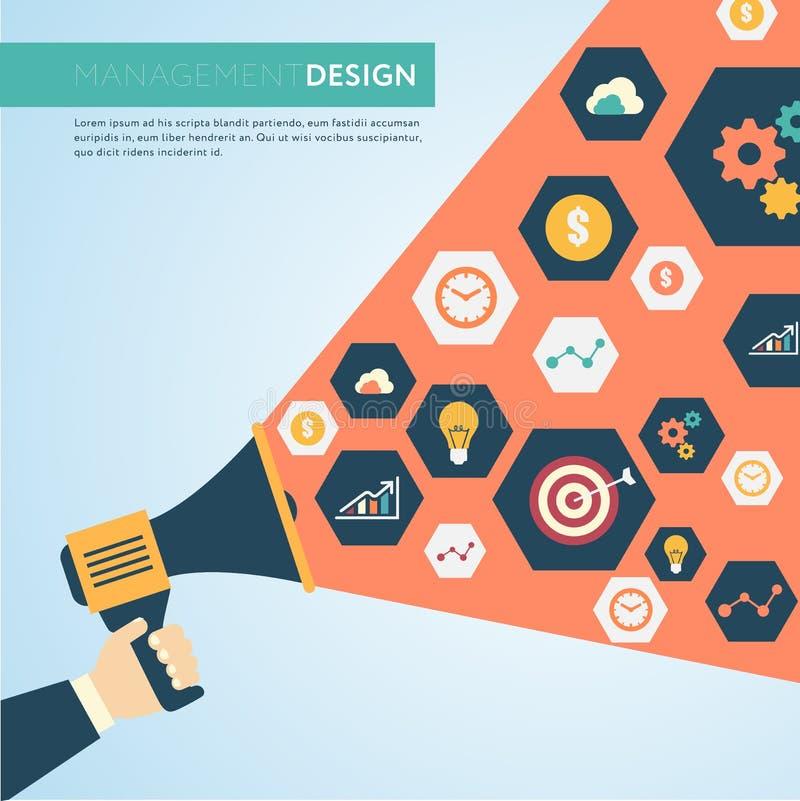 Reeks marketing en van de bedrijfs vlakke pictogrammen ontwerpstijl Di stock illustratie