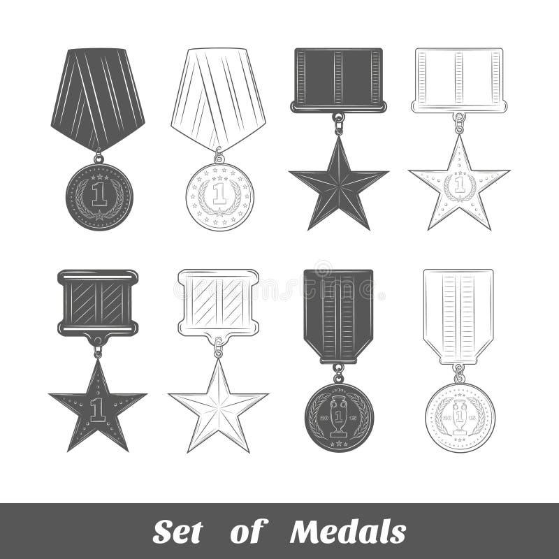 Reeks medailles stock illustratie