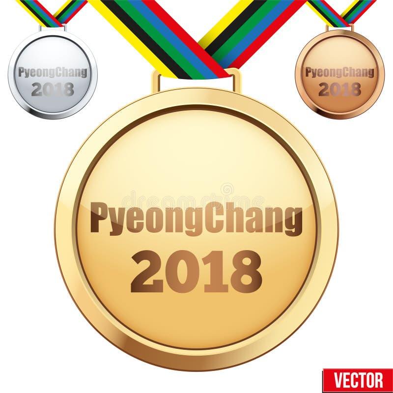 Reeks medailles met tekst PyeongChang 2018 vector illustratie