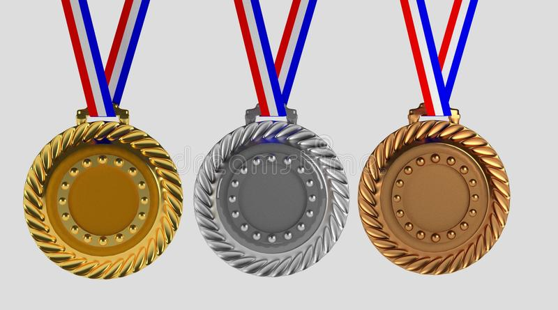 Reeks medailles op wit wordt geïsoleerd dat royalty-vrije illustratie