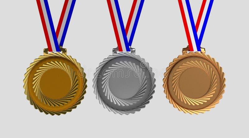 Reeks medailles op wit wordt geïsoleerd dat vector illustratie