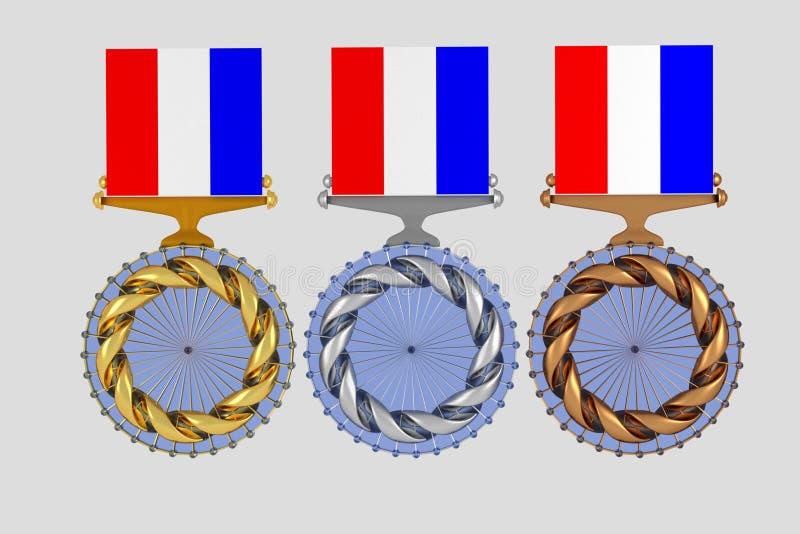 Reeks medailles op wit wordt geïsoleerd dat stock illustratie