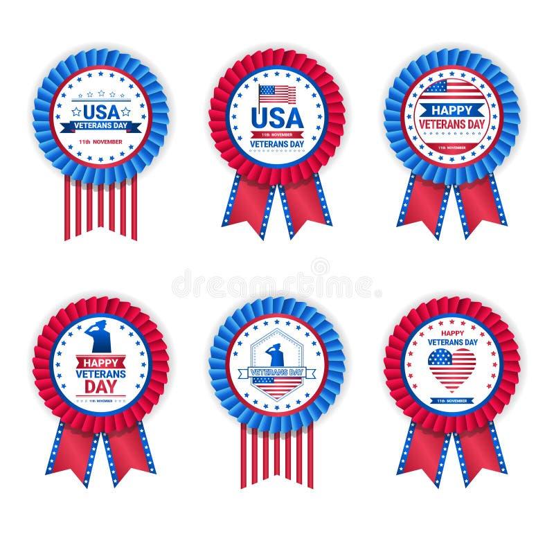 Reeks Medailles van de Veteraandag op Witte Achtergrond, de Inzameling van Vakantiekentekens in de Vlagkleuren van de V.S. stock illustratie