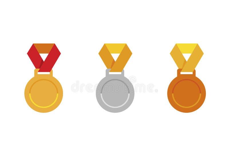 Reeks medaillespictogrammen; Gouden medaillepictogram; Zilveren medaillepictogram; Het pictogram van de bronsmedaille; vector illustratie