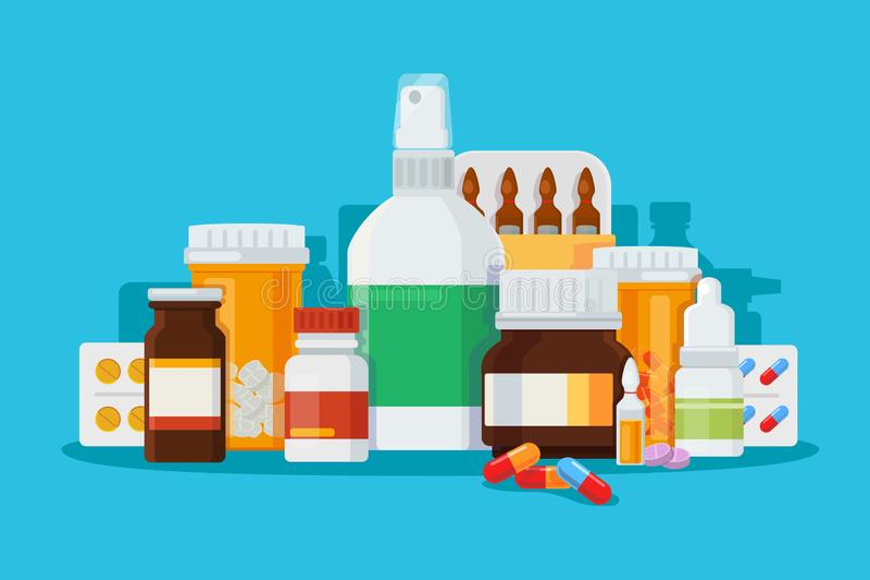 Reeks medicijnen voor behandeling van ziekten royalty-vrije illustratie