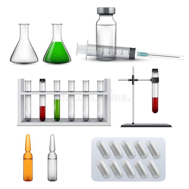 Reeks medische elementen, chemische pictogrammen stock illustratie