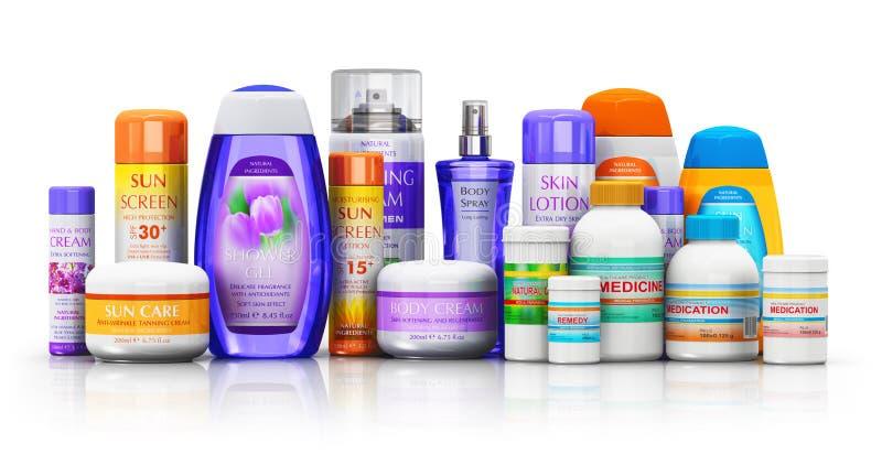 Reeks medische uitrustingen, schoonheidsmiddel en gezondheidszorgproducten vector illustratie