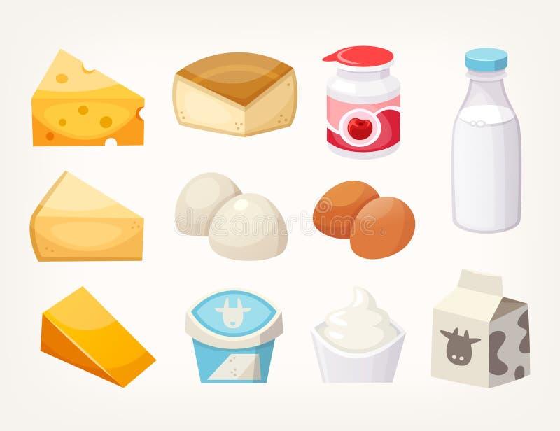 Reeks meeste gemeenschappelijke zuivelvoedingsmiddelen Sommige soorten kaas, melkpakketten en yoghurts royalty-vrije illustratie