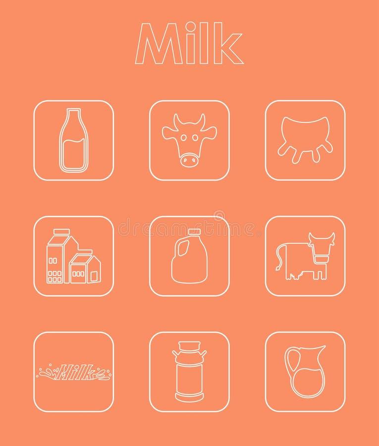Reeks melk eenvoudige pictogrammen stock illustratie
