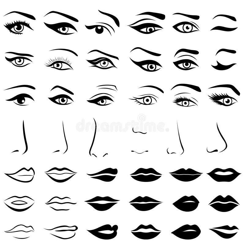 Reeks menselijke ogen, neuzen en lippen stock illustratie