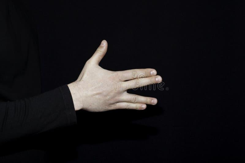 Reeks menselijke palmen met gebaren die één of ander teken betekenen royalty-vrije stock afbeelding