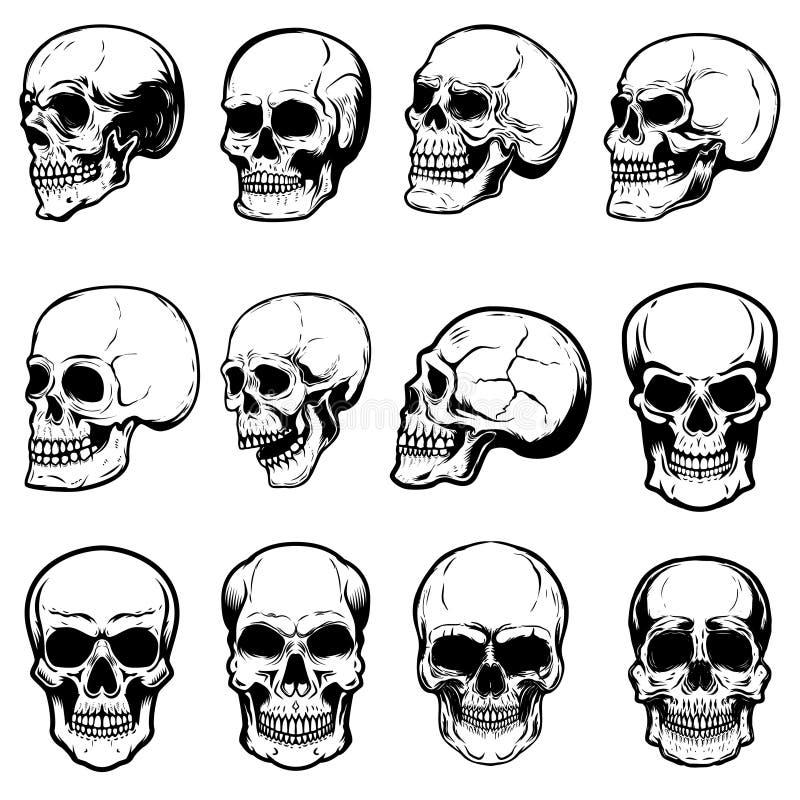 Reeks menselijke schedelillustraties op witte achtergrond Ontwerpelement voor etiket, embleem, teken, embleem, affiche vector illustratie