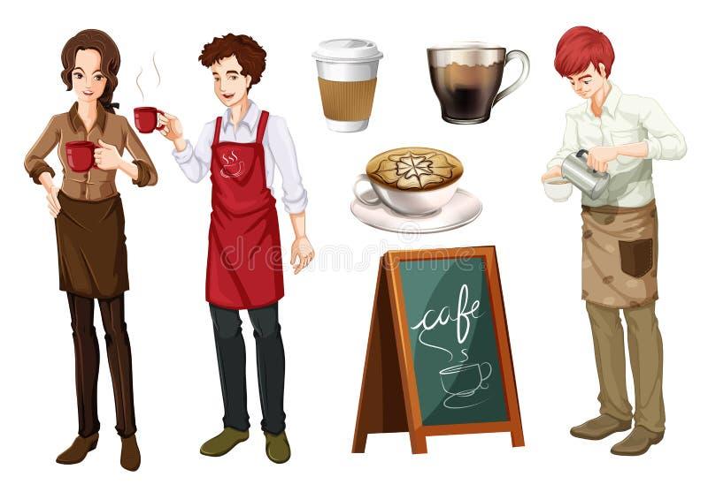 Reeks mensen die in koffie werken vector illustratie