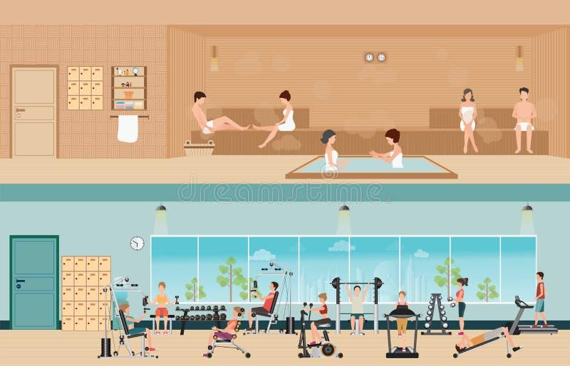 Reeks mensen in het binnenland van de geschiktheidsgymnastiek met materiaal en sauna i royalty-vrije illustratie