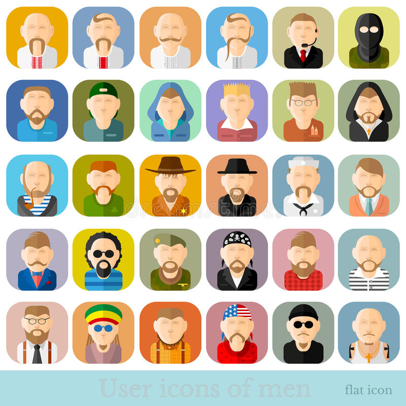 Reeks mensenpictogrammen in vlakke stijl Verschillende beroepen, leeftijd en nationaliteit vector illustratie