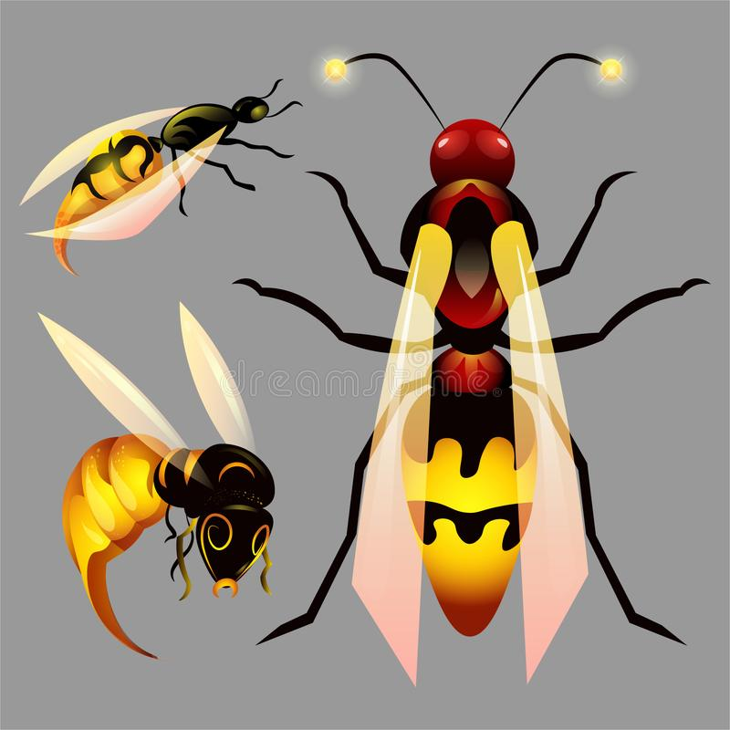 Reeks met bijen en honing stock foto's