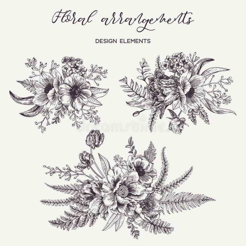 Reeks met boeketten van bloemen vector illustratie