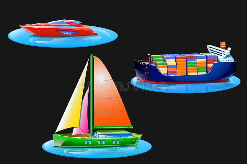 Reeks met boten vector illustratie