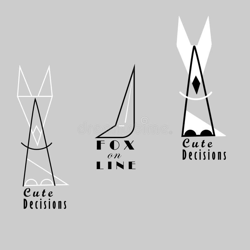 Reeks met de de Geïsoleerde Emblemen en Teksten van de Lijnvos royalty-vrije illustratie