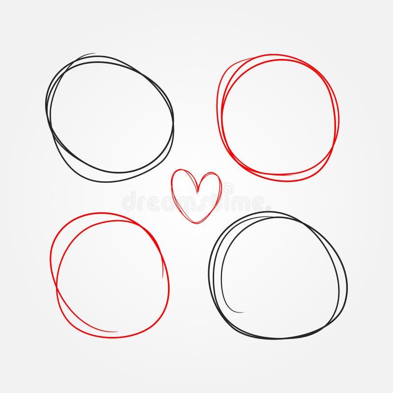 Reeks met de hand geschilderd hart en ronde kaders Schets, krabbel, gekrabbel stock illustratie