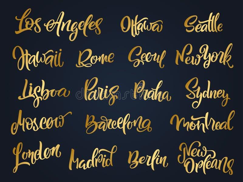 Reeks met de hand geschreven stadsnamen Hand-van letters voorziende kalligrafie Londo stock illustratie